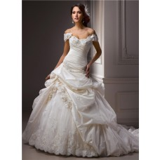 Sexy Ball Gown Off The Shoulder Ivory Taffeta Lace Beaded Wedding Dress