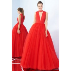 Sexy Ball Gown Plunging Neckline Full Back Red Tulle Prom Dress
