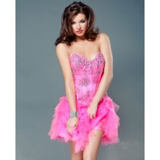 Sexy Ball Strapless Short/Mini Pink Beaded Tulle Party Cocktail Dress With Corset