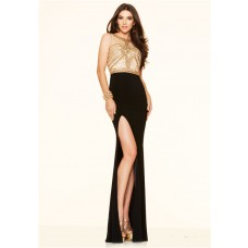 Sexy Cut Out High Slit Black And Gold Beaded Long Evening Prom Dress