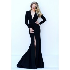 Sexy Deep V Neck High Slit Long Sleeve Black Satin Evening Dress Open Back