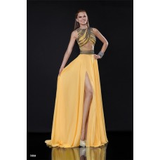 Sexy Front Cut Out High Slit Long Yellow Chiffon Beaded Prom Dress