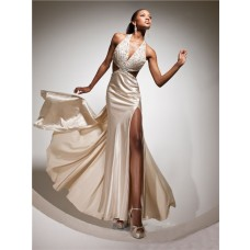 Sexy Halter Backless Long Champagne Silk Beading Prom Dress With Cut Out Silt