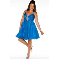 Sexy Halter Mini Short Blue Chiffon Beading Plus Size Party Prom Dress