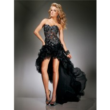 Sexy High Low Black Organza See Through Corset Beaded Evening Prom Dress