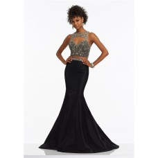 Sexy Mermaid Cut Out Two Piece Black Taffeta Beaded Prom Dress