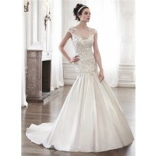 Sexy Mermaid Illusion Neckline Sheer Back Satin Tulle Applique Wedding Dress