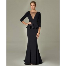 Sexy Mermaid Illusion V Neck Long Black Peplum Formal Evening Dress