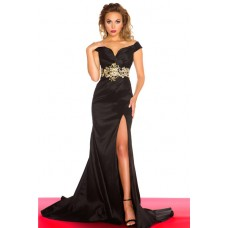 Sexy Mermaid Off The Shoulder Long Black Satin Beaded Evening Prom Dress Slit