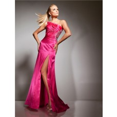 Sexy Mermaid One Shoulder Backless Long Hot Pink Silk Beading Prom Dress Cut Out