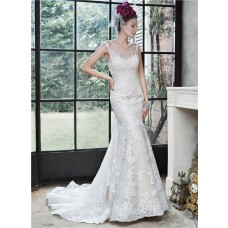 Sexy Mermaid Sheer Illusion Neckline Back Venice Lace Wedding Dress With Buttons