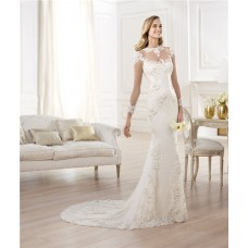 Sexy Mermaid Sheer Illusion See Through Tulle Lace Pearl Wedding Dress With Long Sleeves