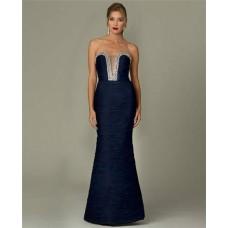 Sexy Mermaid Strapless Plunging Neckline Navy Blue Chiffon Beaded Evening Dress