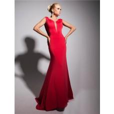 Sexy Mermaid Straps Deep V Backless Long Red Chiffon Evening Prom Dress