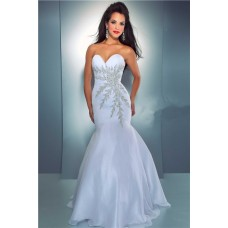 Sexy Mermaid Sweetheart Long White Chiffon Beaded Crystal Prom Dress