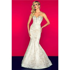 Sexy Mermaid Sweetheart Low Back Long Champagne Lace Beaded Occasion Prom Dress