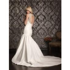 Sexy Mermaid Sweetheart Straps Taffeta Ruched Wedding Dress Keyhole Open Back