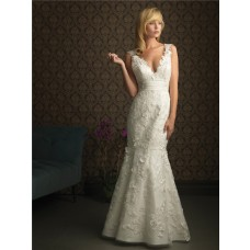 Sexy Mermaid V Neck Backless Lace Wedding Dress Empire Waist With Applique Sash