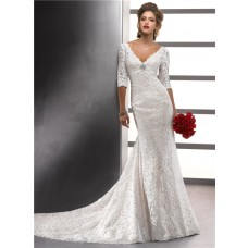 Sexy Mermaid V Neck Empire Ivory Vintage Lace Wedding Dress With Sleeves Low Back Buttons
