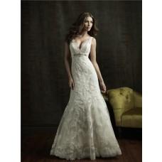 Sexy Mermaid V Neck Empire Waist Lace Wedding Dress With Crystal Sash