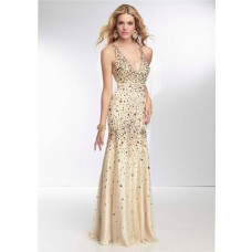 Sexy Mermaid V Neck Low Back Long Champagne Tulle Beaded Prom Dress With Straps