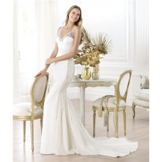 Sexy Mermaid V Neck Open Back Satin Beaded Wedding Dress With Pearls Straps