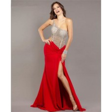 Sexy One Shoulder Side Cut Out Long Red Chiffon Beaded Prom Dress With Slit
