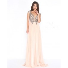 Sexy Plunging Neckline Open Back Cap Sleeve Light Champagne Chiffon Beaded Prom Dress