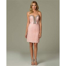 Sexy Plunging Sweetheart Neckline Short Light Pink Evening Dress With Sash