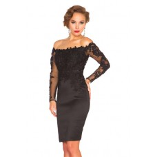 Sexy Sheath Column Off The Shoulder Short Black Satin Lace Sleeve Evening Prom Dress