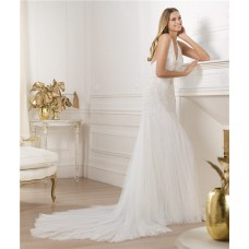 Sexy Sheath Halter Open Back Beaded Sequins Tulle Wedding Dress With Swarovski Crystal