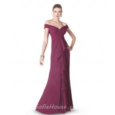 Sexy Sheath Off The Shoulder Long Burgundy Chiffon Evening Dress With Ruffles