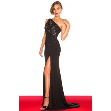 Sexy Sheath One Shoulder Long Black Chiffon Evening Prom Dress With Applique