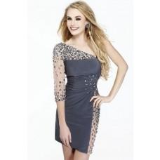 Sexy Sheath One Shoulder Sleeve Short Grey Satin Tulle Beaded Evening Prom Dress