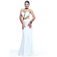 Sexy Sheath Side Cut Out Long White Chiffon Gold Beaded Evening Prom Dress