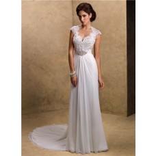 Sexy Sheath Sweetheart Cap Sleeve Open Back Lace Chiffon Wedding Dress
