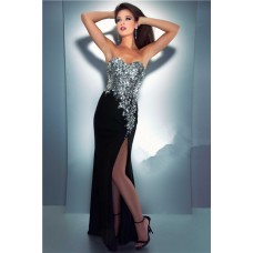 Sexy Sheath Sweetheart Long Black Chiffon Sequin Crystal Glitter Prom Dress
