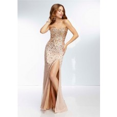 Sexy Sheath Sweetheart Long Champagne Gold Chiffon Beaded Prom Dress With Slit