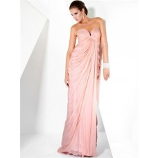 Sexy Sheath Sweetheart Long Pink Chiffon Couture Evening Dress