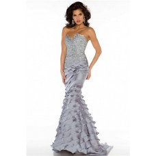 Sexy Sheath Sweetheart Long Silver Beaded Lace Layered Occasion Evening Dress
