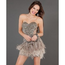 Sexy Sheath Sweetheart Short/Mini Brown Beaded Feather Cocktail Dress With Sequins