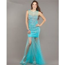 Sexy Sheer Neckline Open Back Turquoise Tulle Beaded Prom Dress With Slit