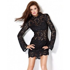 Sexy Sheer Short/Mini Little Black Lace Club Cocktail Dress With Sleeves