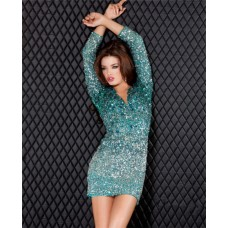 Sexy Short Mini Green Ombre Beaded Sweet Sixteen Cocktail Party Dress With Sleeves