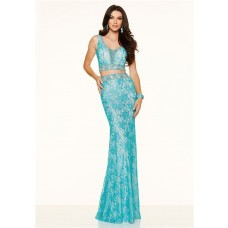 Sexy Slim Cutout Open Back Two Piece Turquoise Lace Evening Prom Dress