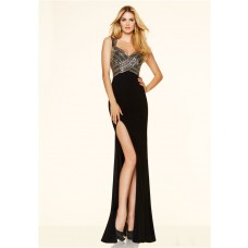 Sexy Slim High Slit Backless Long Black Beaded Prom Dress With Straps