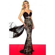 Sexy Slim Spaghetti Strap Backless Long Black Lace Beaded Evening Prom Dress With Train