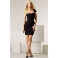 Sexy Square Neck Cap Sleeve Short Mini Black Bandage Bodycon Party Dress