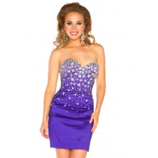 Sexy Strapless Short/ Mini Lavender Purple Satin Beaded Homecoming Prom Dress