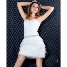 Sexy Strapless Short Mini White Beaded Feather Sweet Sixteen Cocktail Party Dress